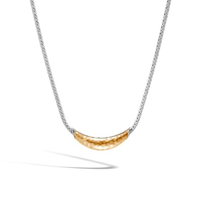 21065b80e9278 Classic Chain Station Necklace in Silver and Hammered 18K Gold ...