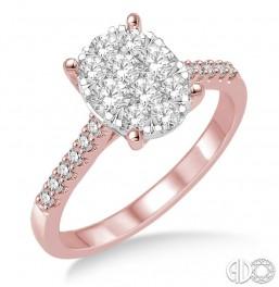 14k Rose  Gold lovebright oval top cluster ring
