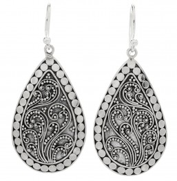 Samuel B. Sterling Silver Filigree Design Pear Shape Earrings