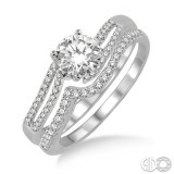 14k White Gold 2 pc bridal set with .50 ct center