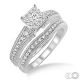 14k White Gold 2 pc lovebright bridal set, with engraved euro-shanks