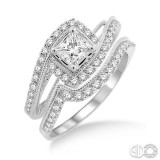 14k White Gold Bridal Set containing 1 princess .40ct and 52 round diamonds weighing .50ctw, with matching diamond band