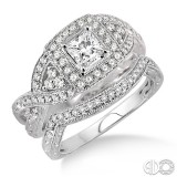 14k White Gold 2 pc bridal set with princess center stone