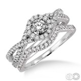 14k White Gold 2 pc bridal set with .20ct round center