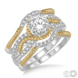 14k White and Yellow Gold 3 pc bridal set with round center and 2 matching bands,with twist design