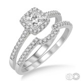 2 pc 14k White Gold wedding set with princess center