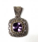 Samuel B. Sterling Silver/18K Cushion Cut Amethyst Pendant 12X12Mm