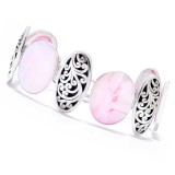 Samuel B. Sterling Silver Pink Mother Of Pearl Oval Link Bracelet