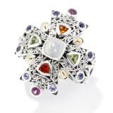 Samuel B. Sterling Silver/18K Opal & Multi Color Gemstone Ring