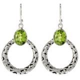 Samuel B. Sterling Silver Circle Peridot Dangle Earrings