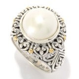 Samuel B. Sterling Silver/18K Round White Pearl Ring