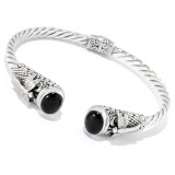 Samuel B. Sterling Silver Onyx Bangle With Dragonfly Design