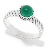 Samuel B. Sterling Silver Round Green Onyx Ring
