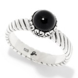 Samuel B. Sterling Silver Round Onyx Stack Ring