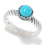 Samuel B. Sterling Silver Round Turquoise Stack Ring