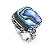 Samuel B. Sterling Silver Square Balinese Design Abalone Ring