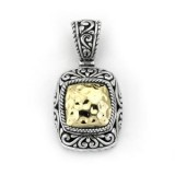 Samuel B. Sterling Silver/18K Square Shaped Hannered Gold Pendant