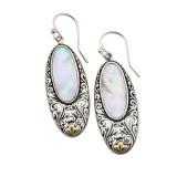 Samuel B. Sterling Silver/18K Oval Mop Earrings Withbalinese Swirl Design