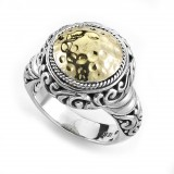 Samuel B. Sterling Silver/18K Round Hammered Gold Ring