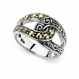 Samuel B. Sterling Silver/18K Interlocking Gold Beading Ring