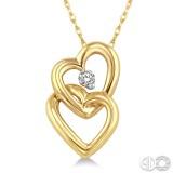 10K Yellow .07ct Double Heart Diamond Pendant