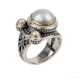 Sterling Silver and 18kt Yellow Gold pearl ring size 7