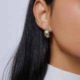 Legends Naga Buddha Belly Earring in Silver, Brushed 18K Gold