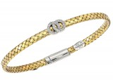 18K And Sterling Silver Flat Basket Weave Bracelet With Center .13Ctw
