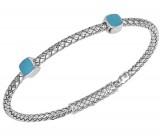 Sterling Silver Basket Weave Bracelet With 2 Cushion Shape Black Enamel Ornaments