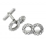 Sterling Silver Double Loop Basket Weave Cufflinks