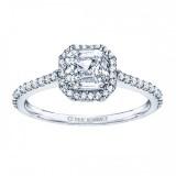 Rm1309-14k White Gold Cushion Cut Halo Diamond Engagement Ring