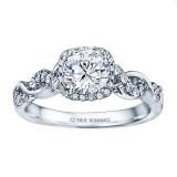 Rm1405 -14k White Gold Round Cut Halo Diamond Infinity Engagement Ring