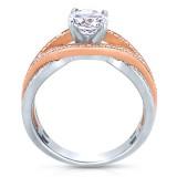 Rm1413tt -14k Rose Gold Round Cut Diamond Bi-pass Engagement Ring
