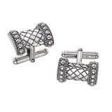 Sterling Silver Rectangular Basketweave Cufflinks