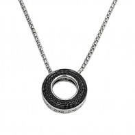 Sterling Silver Pendant Containing 60 Black Sapphires And 1 Pink Sapphire I Love You 365 Days A Year