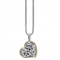 Sterling Silver & 18Ky  Ivy Heart Pendant On Chain