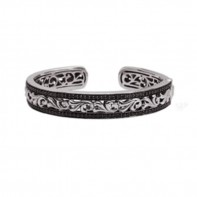 Sterling Silver  & 14Kw Cuff Bracelet Containing 112 Black Sapphires