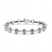 Sterling Silver And 18K Pink Tube Bracelet