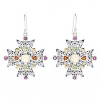 Samuel B. Sterling Silver/18K  Opal And Multi Color Stone Earrings