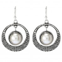Samuel B. Sterling Silver Round Dangling Earrings With White Mobe Pearl