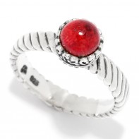 Samuel B. Sterling Silver Round Coral Stack Ring