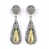Samuel B. Sterling Silver/18K Hammered Design Tear Drop Earrings With Stud