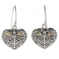 Samuel B. Sterling Silver/18K Heart Shaped Earrings With Dragonfly