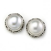 Samuel B. Sterling Silver  Round White Mave Pearl Stud Earring