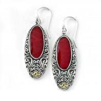 Samuel B. Sterling Silver/18K Oval Coral Earrings With Balinese Swirl Design