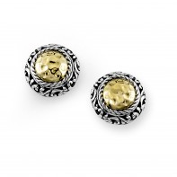 Samuel B. Sterling Silver/18K Round  Hammered Gold Stud Earring