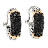 Samuel B. Sterling Silver/18K Black Spinel Pave Earrings