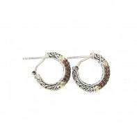 Samuel B. Sterling Silver/18K Garnet Pave Hoop Earrings