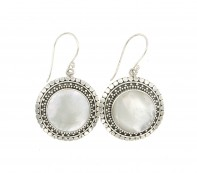 Samuel B. Sterling Silver Round Mother Of Pearl Earrings