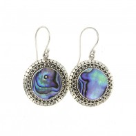 Samuel B. Sterling Silver Round Abalone Earrings